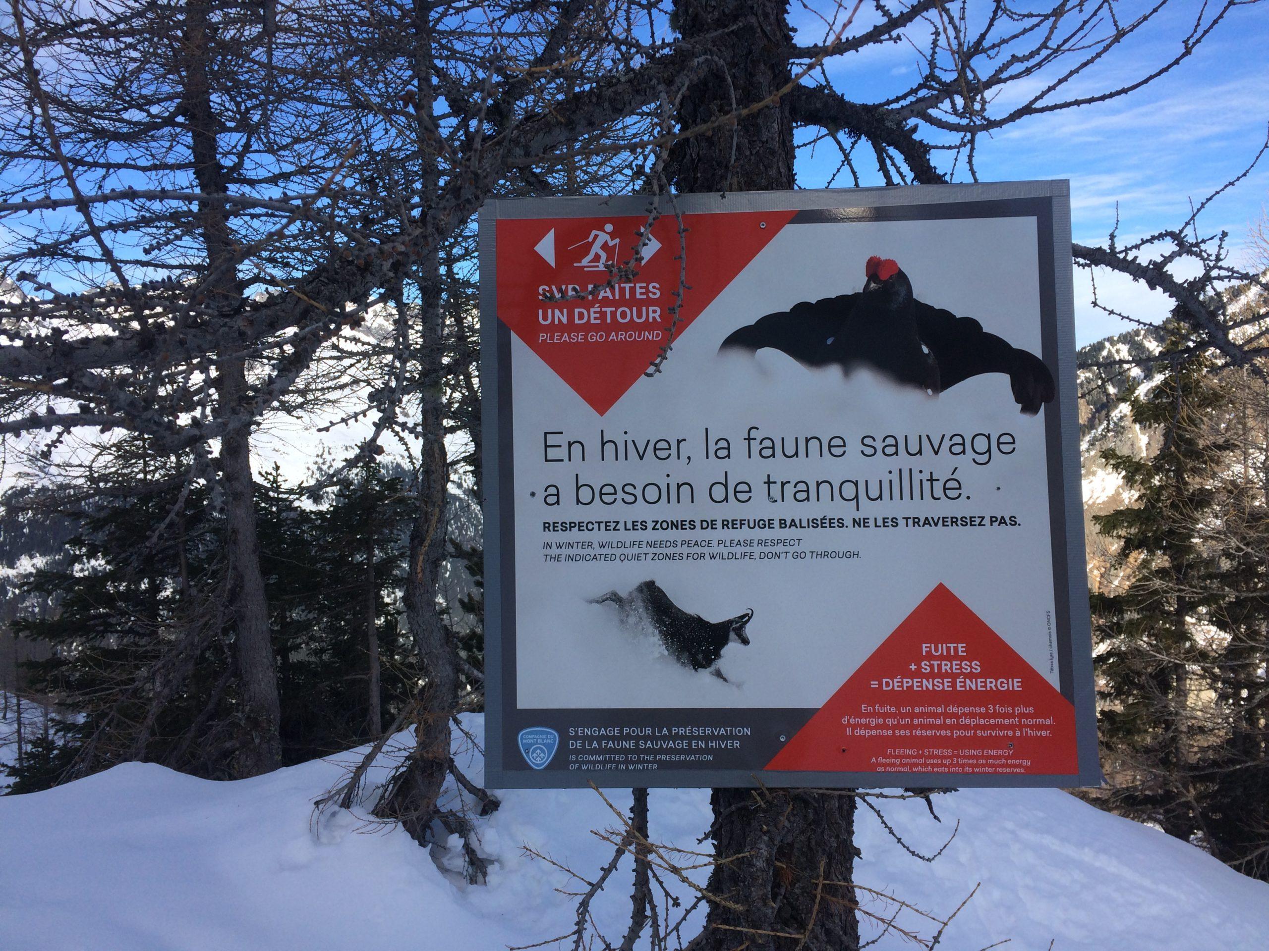 Panneau d'information hivrenage faune